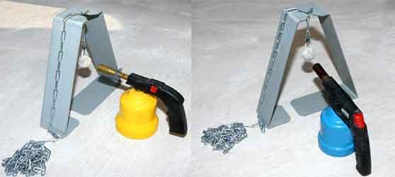 Support pour boule chauffante BC2508 avec lampe à souder pour encastrer dans le polystyrene blanc, gris ou noir sans faire de trou intermediaires.